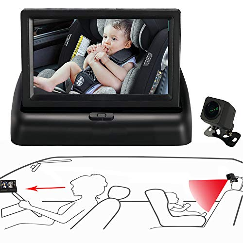 Itomoro Baby Car Mirror, View Infant in Rear Facing Seat with Wide Crystal Clear View,Night Vision,Camera Aimed at Baby-Easily to Observe The Baby's Every Move (Camera For Back Of Car)