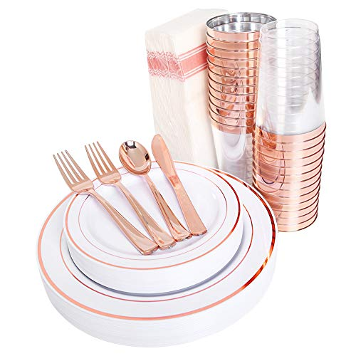 Birthday Paper Products (200 pieces Rose Gold Plastic Plates,Rose Gold Silverware, Rose Gold Cups, Linen Like Paper Napkins, Rose Gold Disposable Flatware, Enjoylife (Rose Gold,)