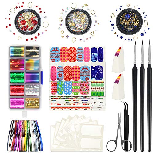 Nail Art Kit - Fascinating Nail Arts Include 10 Starry Foil Stickers, 3 Nail Liner, 3 Wheels 3D Nail Rhinestones, Stripping Tapes, Gradient Sponge,Tweezers & Scissors