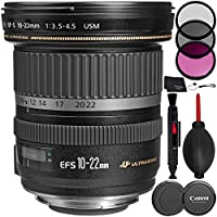 Canon EF-S 10-22mm f/3.5-4.5 USM Lens - 5PC Accessory Bundle Includes 3 Piece Filter Kit (UV, CPL, FLD) + Lens Cleaning Pen + Dust Blower + MORE