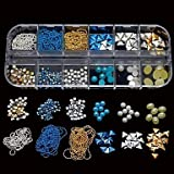 QINF 12 Styles Mix Nail Studs Beads Chain Half Round Stcker DIY Nail Art Decoration