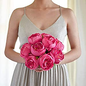 Butterfly Craze Artificial Peony Silk Flower Bouquet for Wedding Floral Arrangements and Home Decoration - Fushia Red Color, 10 Stem Per Set 5