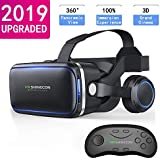 VR Headset with Remote Controls/VR Headset for iPhone,HD 3D VR Glasses Virtual Reality Headset Apply to VR Games and Watch 3D Movies, VR Goggles for iPhone/Android Phone Compatible 4.7-6 inch