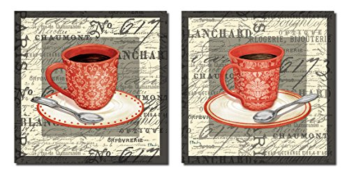 2 Vintage French Cafe Cups of Coffee with a Script Background; Two 12x12 Poster Prints. Red/Black/Cream
