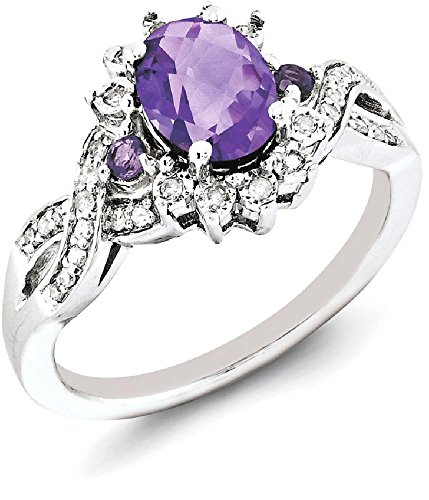 IceCarats 925 Sterling Silver Diamond Purple Amethyst Band Ring Size 6.00 Stone Gemstone by ICE CARATS