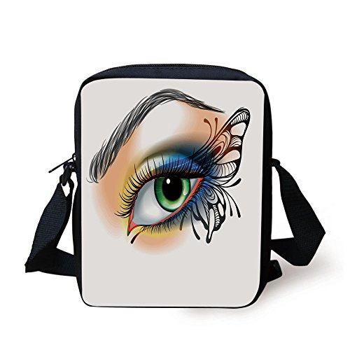 IPrint Eye,Fantasy Womans Eye Make Up Butterfly Wing Vibrant Colors Eyelashes Female Looking Decorative,Multicolor Print Kids Crossbody Messenger Bag Purse