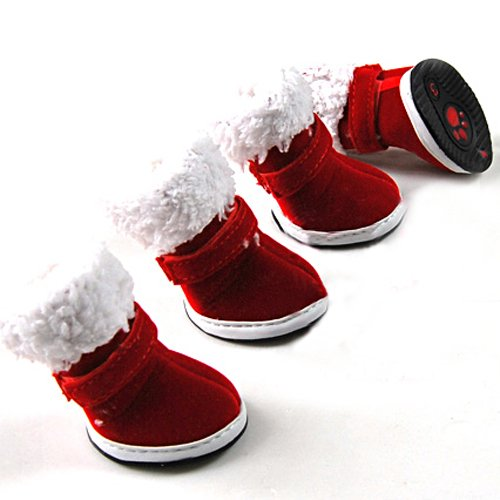 LOVEPET Dog Christmas Boots, Dog Paw Protectors, Wine Red Booties, Size: 4, Pet Costume, My Pet Supplies