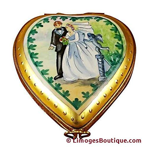 - STUDIO COLLECTION - HEART W/WEDDING COUPLE - LIMOGES BOX AUTHENTIC PORCELAIN FIGURINE FROM FRANCE