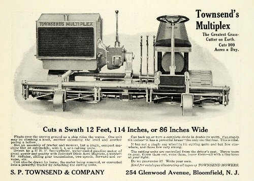 1922-ad-s-p-townsend-co-bloomfield-multiplex-grass-cutter-yard-machine-tools-original-print-ad
