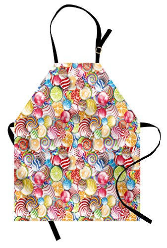 Ambesonne Colorful Apron, Spiral Sugar Candy Sweets Lolly Po