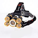 PRLANYDAR T6+XPE LED Head Lamp 10000lm Zoomable Headlamp 5leds Headlight Tube Torch LED Flashlight+Car Charger+18650 Batteries