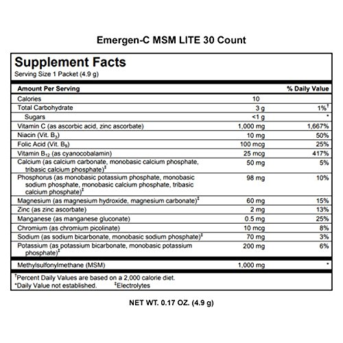 Emergen-C Lite MSM (30 Count, Citrus Flavor) Dietary Supplement Fizzy Drink Mix with 1000mg Vitamin C, 1000mg MSM, 5.1 Ounce Packets by Emergen-C (Image #8)