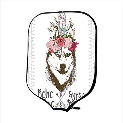 - Neoprene Pickleball Paddle Racket Cover Case,Feather House Decor,Aztec Floral Head Portrait of Siberian Husky Dog Tribal Arrow Kitsch Image,Multi,Fit for Most Rackets - Protect Your Paddle