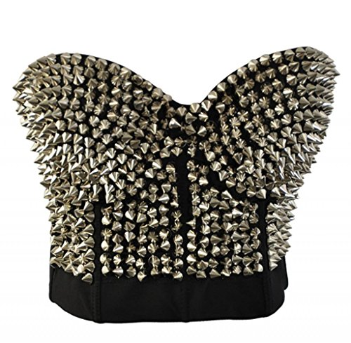 Alivila.Y Fashion Metallic Spike Punk Goth Bra Clubwear (Best Kiss Bustiers)
