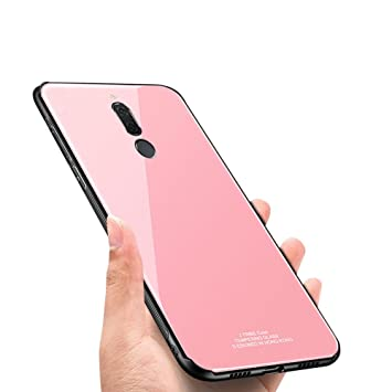 Funda Huawei Mate 10 Lite,Okssud Huawei Mate 10 Lite Carcasa Rosado,Moda Color Puro Diseño Vidrio Templado Back Ultra Delgado Ligero Brillante TPU ...