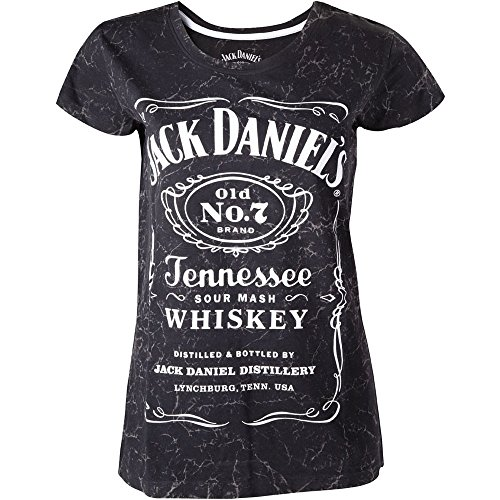 Jack Daniel's - Classic Logo on Marbled Premium Wash - Women's Capsleeve T-Shirt (Large)