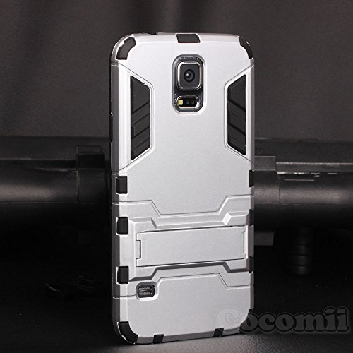 Galaxy S5 Case, Cocomii Iron Man Armor NEW [Heavy Duty] Premium Tactical Grip Kickstand Shockproof Hard Bumper Shell [Military Defender] Full Body Dual Layer Rugged Cover Samsung G900 (Silver)