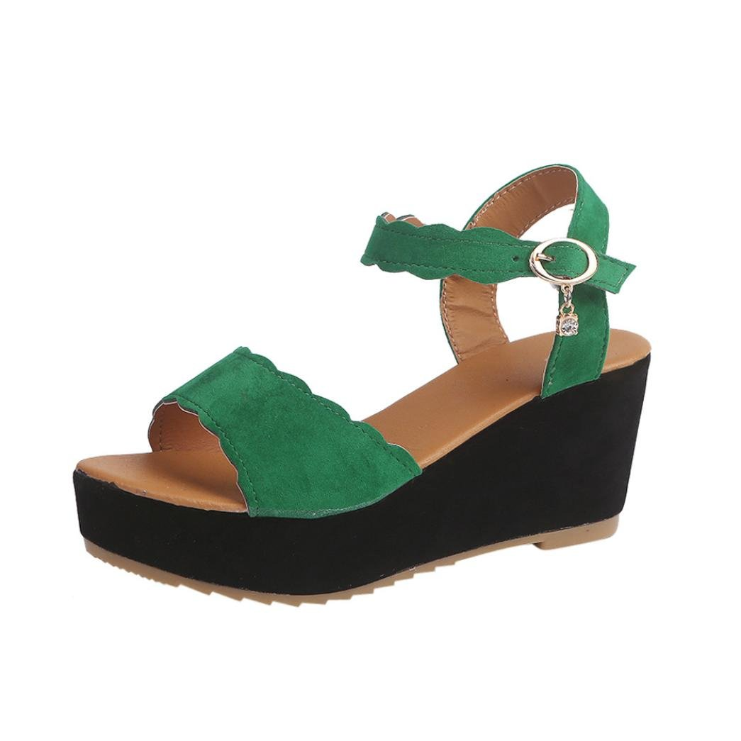Goodtrade8 Women's Cut Out Espadrille Platform Wedge Sandals Ankle Strap Peep Toe Summer Shoes (Size 7, Green)