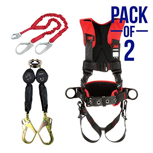 Protecta 1340161 PRO 6' Shock Absorbing Lanyard with Rebar Hooks + Protecta Black Comfort Construction Style Positioning Harness(Size-XL) + Twin Leg Web 6ft SRL with Steel Rebar Hook Ends (2 Pack)