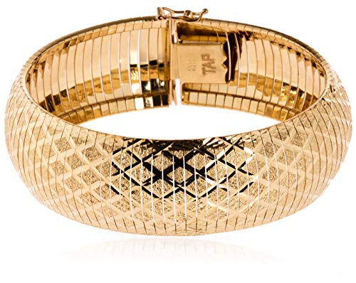 SilverLuxe Sterling Silver 18 kt Gold Plated Diamond Cut CrissCross Wide Cleopatra Omega Bracelet 7.25