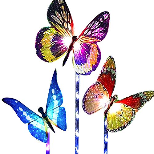 Children Solar Garden Light - Garden Solar Lights Outdoor,Multi-Color Changing Solar Powered LED Garden Lights,Fiber Optic Butterfly Decorative Lights,outdoor decor,Yard Art,Garden Decorations.(3-Pack)