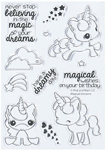 Pink & Main PM0180 N/A clear Stamps 4''X6''-Magical Unicorns by Pink & Main