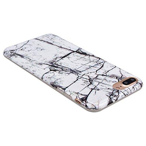 GrandEver iPhone 7 Plus Weiche Silikon Hülle Marmor Handy hülle Schwarz Linie Marble Malerei Schlank TPU Bumper HandyTasche Case Muster Flexible Ultra Slim Schutzhülle Zurück Linien Soft Back Cover Si