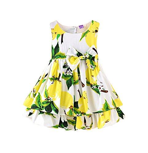 NIMIKID Baby Girls Dress Sundress Sleeveless Playwear Dress Bowknot Lemon Print Tutu Skirt Size 1T-2T/90cm -