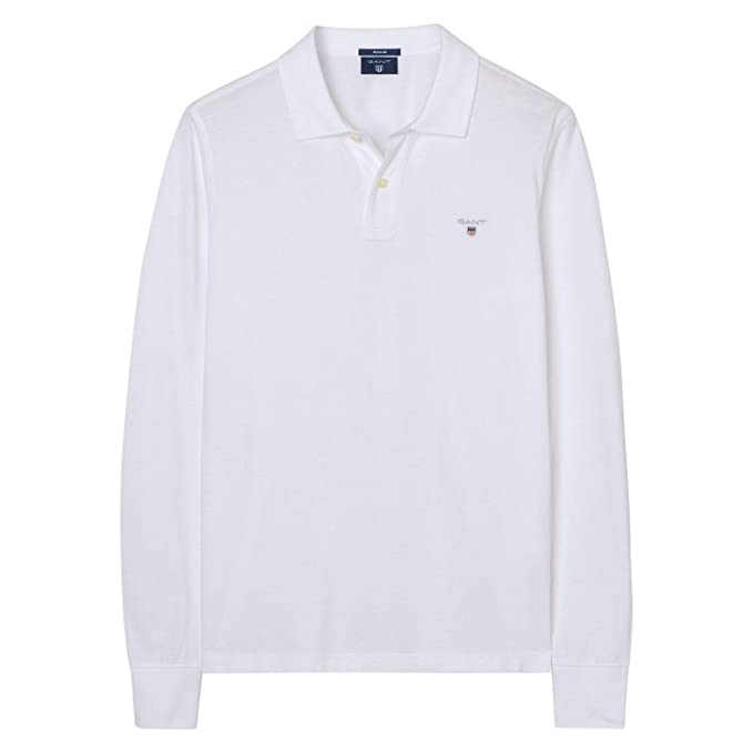 Guante Solid Pique LS Rugger, Polo para Hombre 110 White S: Amazon ...