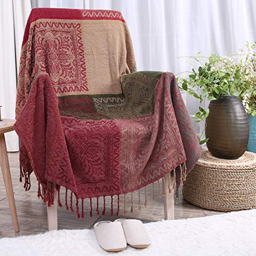 Vonty Chenille Bohemian Throw Blanket with Tassels Decorative Tribal Throw Blankets for Sofa Couch, Bed, Table Cover (Red Plaid-1, 60