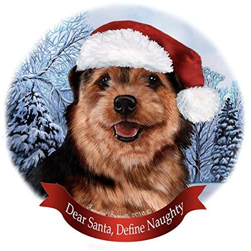 (Holiday Pet Gifts Norfolk Terrier Black/Tan Dog Santa Hat Porcelain Ornament)
