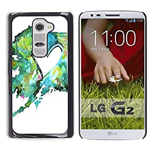 Impact Case Cover with Art Pattern Designs FOR LG G2 Painting Watercolor Teal Green Love Betty shop