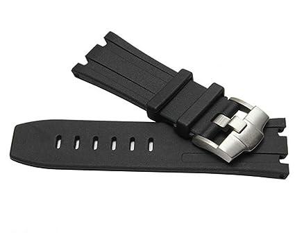 fc3e25c11f4 28mm AP Black Silicone Rubber Watch Band Strap Deployment Clasp Fits for AP  Audemars Piguet Royal