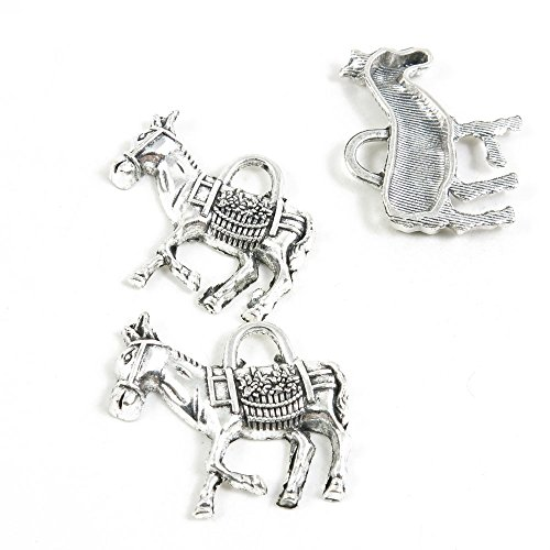 30 Pieces Antique Silver Tone Jewelry Making Charms Penda...