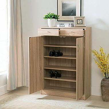 Belden Weathered Oak Finish Five Shelf Shoe Storage Cabinet