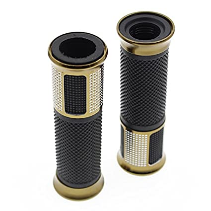 Rzmmotor Universal Motorcycle Hand Grips with Billet Aluminum Handlebar End Cap Plug Slider For Most Scooter Sportbikes with 7//8 22mm Standard Bars