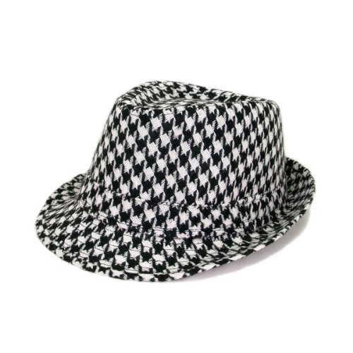 Unisex Classic Houndstooth Fedora Hat, Black & (Black Houndstooth Print)