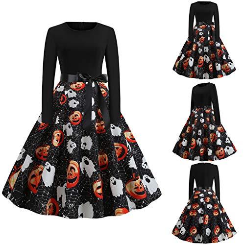 charmsamx Happy Halloween Pumpkin Print Dress Women Vintage Elegant Rockabilly Swing Cocktail Party Dress Retro A-Line Casual Long Sleeve Zipper Dresses Halloween Evening Party Costume Dress