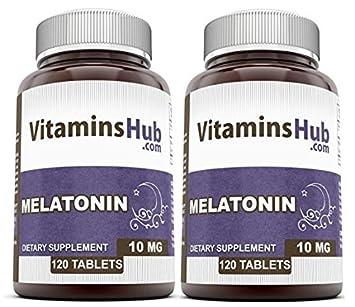 VitaminsHub Melatonin 10 Mg 120 Tablets (Pack Of 2)  - Supports Healthy Sleep &