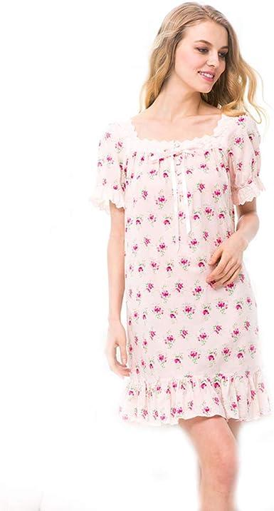 Ropa de Dormir Mujeres Camisones de algodón Encaje O-Cuello Manga Corta Camisón Suave, Rosado, XL: Amazon.es: Ropa y accesorios