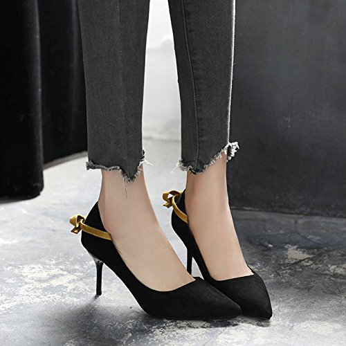 ZXCB Mesdames Talons Hauts Pointu Orteil Bow Court Shoes Party Mariage Travail Chaussures de Court Black7cm zaP3EAmix