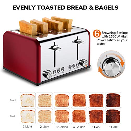 4 Slice Toaster, CUSIBOX Stainless Steel Toaster with Bagel, Defrost, Cancel Function, Extra Wide Slots, 6 Bread Shade Settings, 1650W, Red