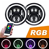 headlights for jeep - RGB Halo LED Headlight for Jeep Wrangler CJ TJ JK JKU Rubision Unlimited 7inch Jeep Wrangler LED Headlamp Assembly with Angel Eye Halo for Jeep CJ-5 CJ-7 Bluetooth Function with APP Control Wrangler