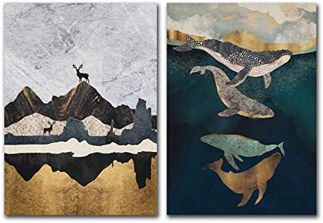 クジラとエルクの壁アートプリントキャンバス絵画ポスターポスターと 抽象的なnodicポスター壁の寝室-50X70Cmx2ピースフレームレス