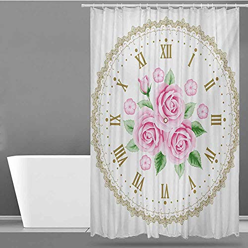 Tim1Beve Hotel Style Shower Curtain,Shabby Chic Vintage Clock Face Roses Roman Numbers Antique Vintage Style,Shower Hooks are Included,W36x72L,Pale Pink Green Dark Khaki