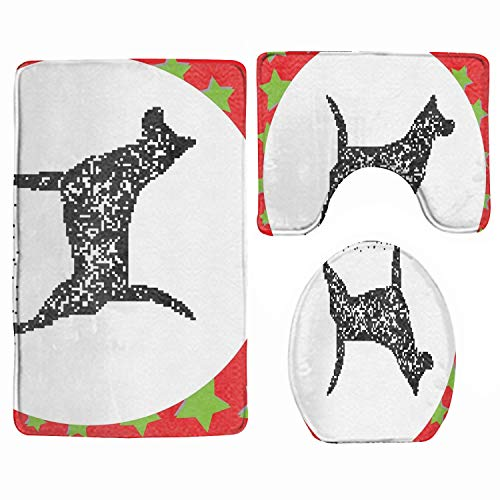Non-Slip 3 Piece Soft Bath Rugs Set Black Bit Dog Standing Washable Bathroom Rug + Contour Mat + Toilet Seat Cover,Floor Rug for Doormats Tub Shower Room Decorations