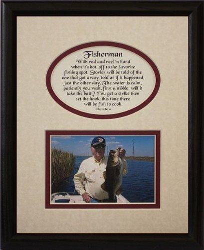8 x 10 Fisherman Bild & Poetry Foto Geschenk Rahmen  creme Burgund Matte mit Schwarz Rahmen  Geschenk für A Fisherman von klassischen Crafts INC