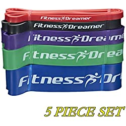 Resistance Workout Pull Up and Fitness Band(s) for Exercise with Mini Band(s), eGuide and Videos (#7 Five-Piece Set Ultimate Fitness Dreamer Full Collection (Red, Black, Purple, Green, Blue))