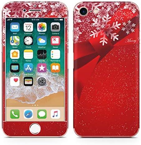 igsticker iPhone SE 2020 iPhone8 iPhone7 専用 スキンシール 全面スキンシール フル 背面 側面 正面 液晶 ステッカー 保護シール 005485 ラグジュアリー リボン 雪 結晶