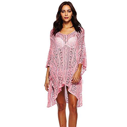 Maillots Rose Bain Plage de Col de Blouse Up Robe Femme V Decha Bikini Cover wTSxqfFOWn
